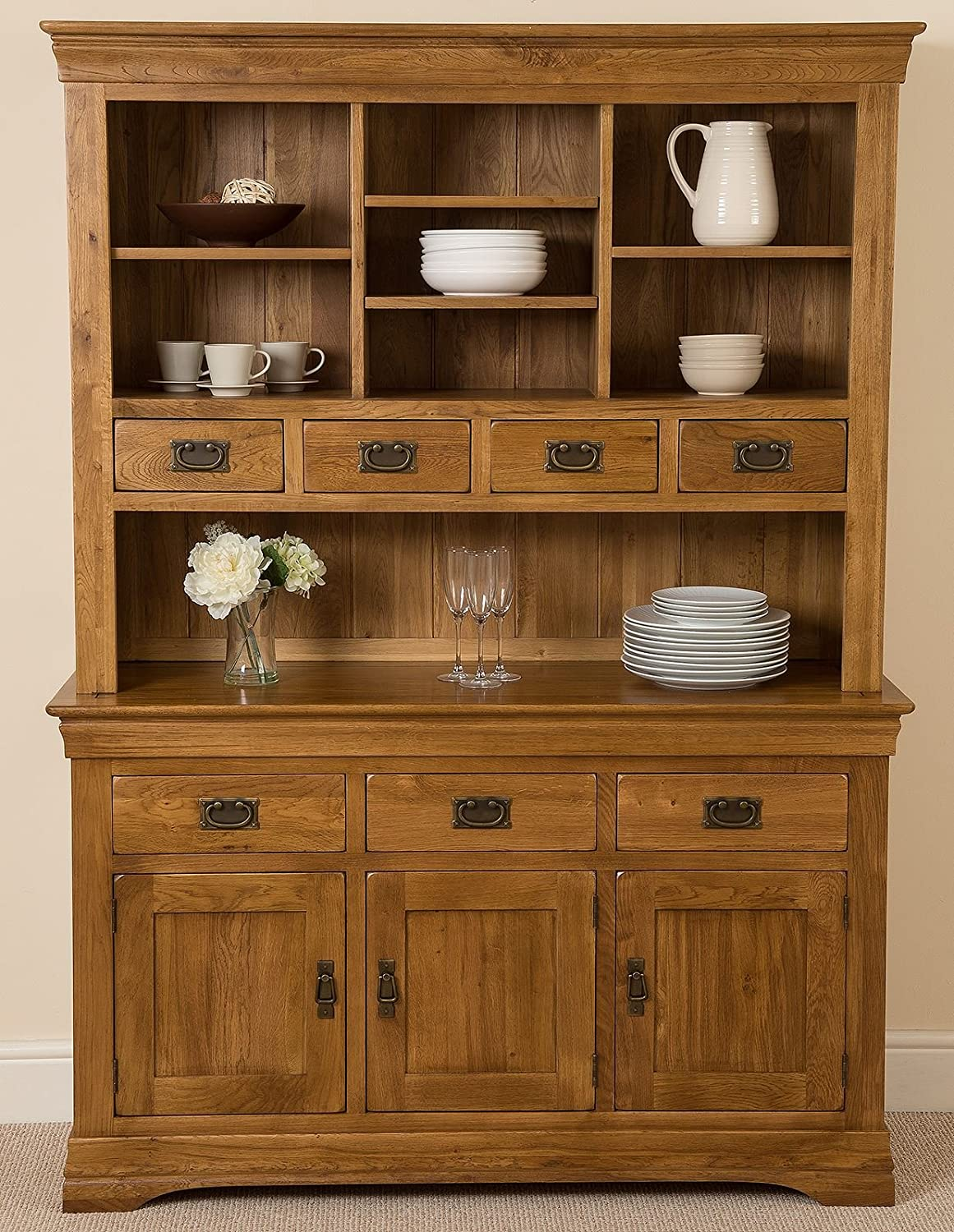 French Rustic Solid Oak Large Welsh Dresser Cabinet Wall Unit Amazoncouk Kitchen Home