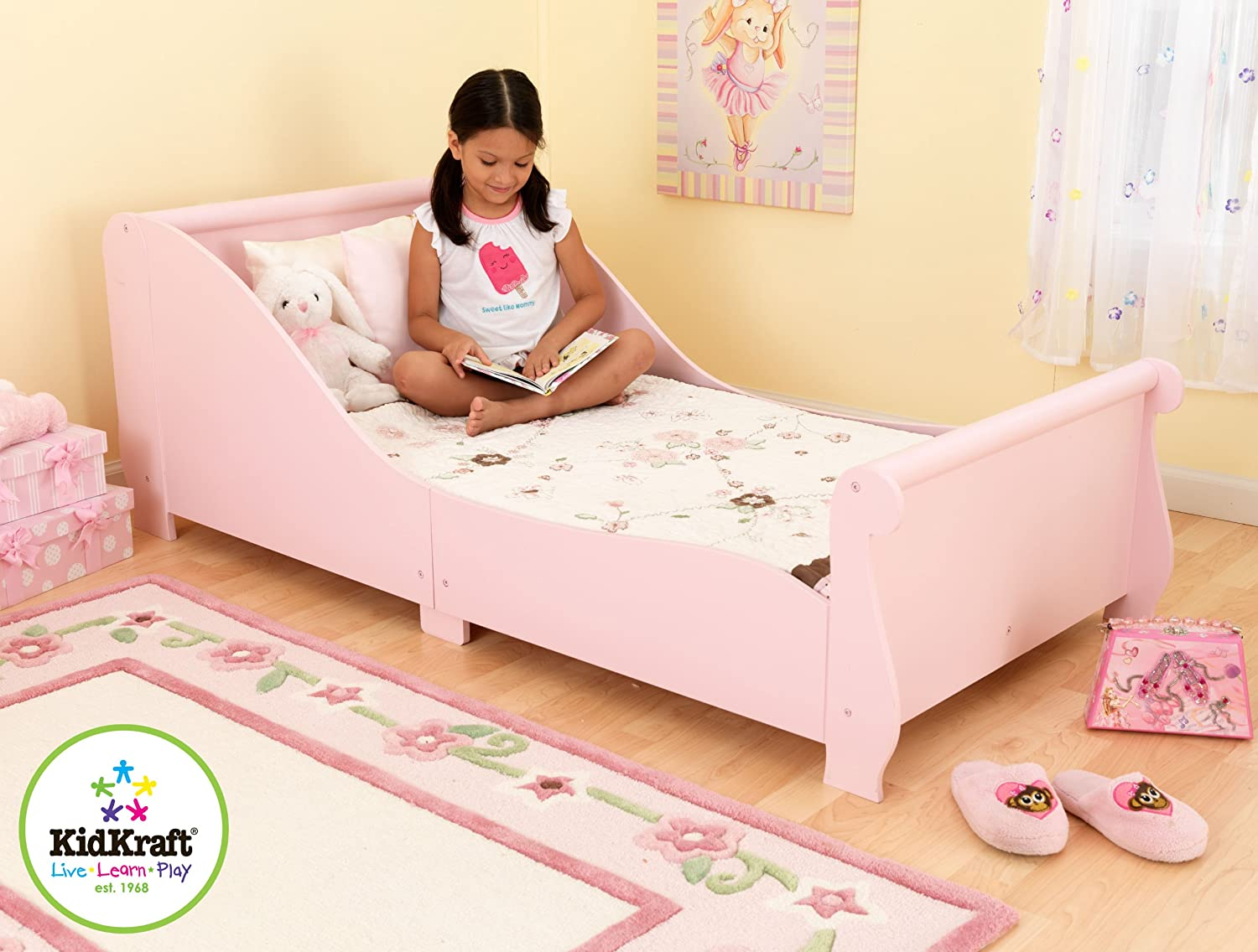 Kidkraft Sleigh Toddler Bed 86735 Furniture Pink Amazoncouk Kitchen Home