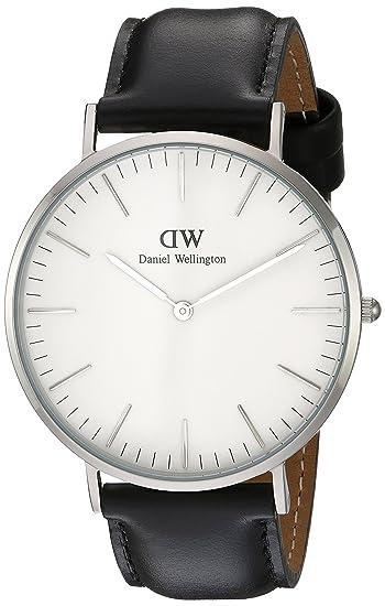 ac08a77aa Daniel Wellington - Reloj analógico para caballero,correa de cuero negro,  dial blanco