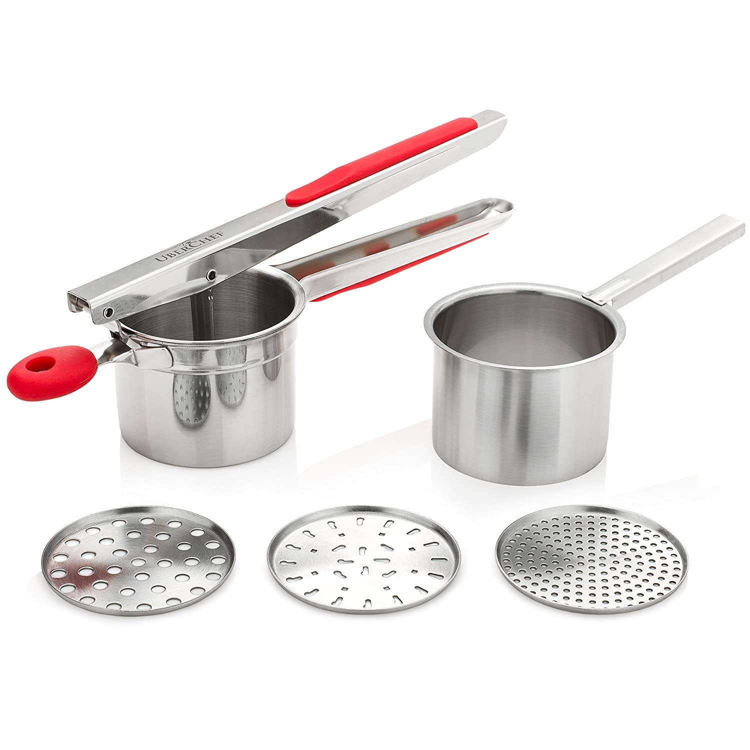 UberChef Potato Ricer Set with 3 Ricing Discs (Fine, Medium, Coarse) - Premium Stainless Steel Baby Food Strainer, Fruit Masher, and Food Press with Ergonomic Comfort Grip