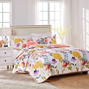 Greenland Home Watercolor Dream Quilt Set, 3-Piece Full/Queen, White