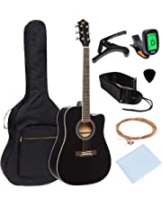 Best Choice Products 41in Full Size Beginner Acoustic Cutaway Guitar Kit Musical Instrument Set w/Padded Case, Strap, Capo, Extra Strings, Digital Tuner, Polishing Cloth, 4 Picks - Black