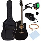 Best Choice Products 41in Full Size Beginner Acoustic Cutaway Guitar Kit w/Padded Case, Strap, Capo, Extra Strings, Digital T