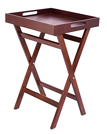 Amazon.com: BirdRock Home Wooden Tray Table | Removable Food Drink Snack  Serving Tray | Indoor Outdoor TV Side Table | 28 Inch | Antique Walnut  (Dark Brown) ...