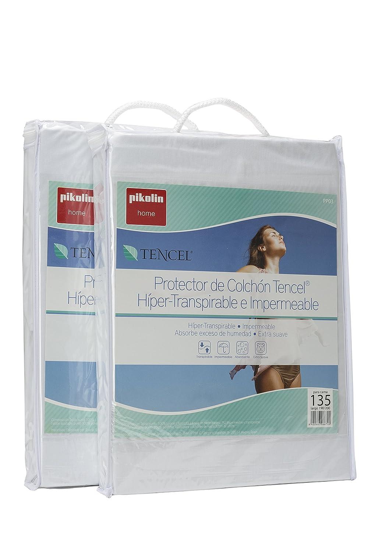 Pikolin Home - Pack de 2 protectores de colchón Lyocell, híper-transpirables e impermeables, color blanco, 135 x 190/200 cm, cama 135 (Todas las medidas): ...