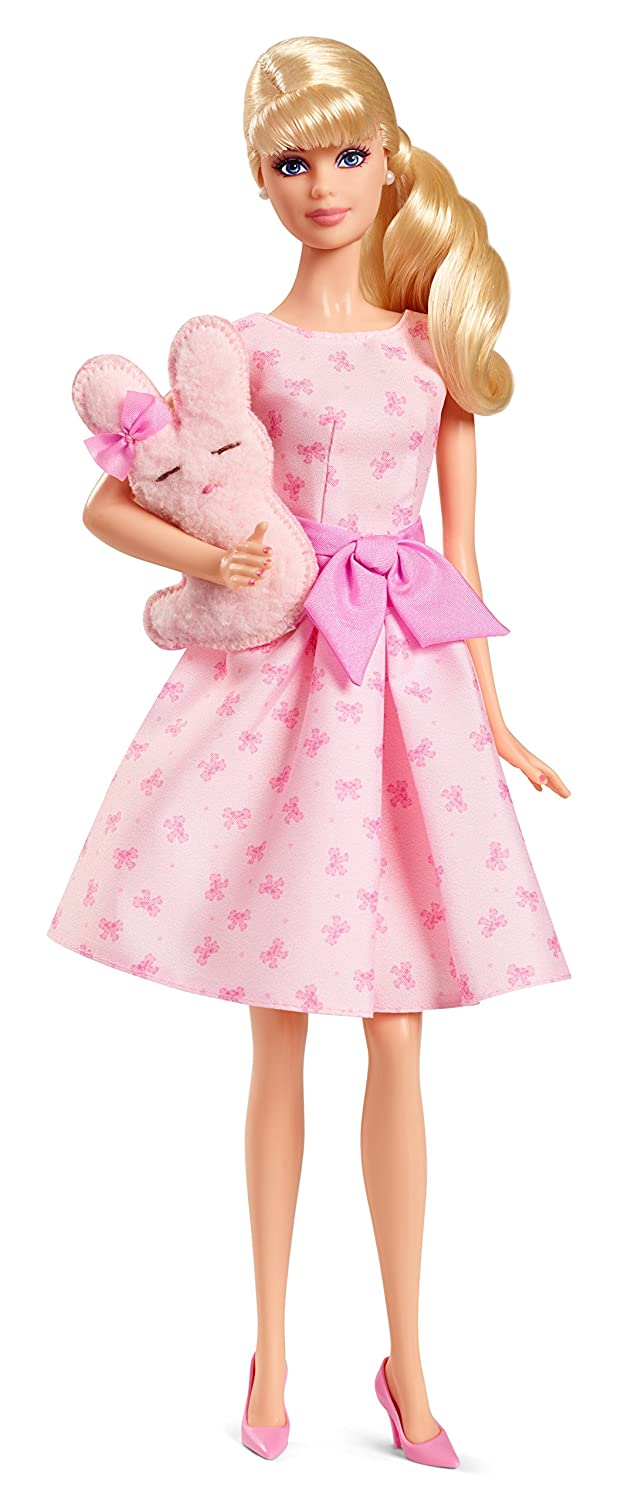 583511acf Amazon.com: Barbie Collector It's A Girl with Stuffed Bunny and Doll Stand:  Toys & Games