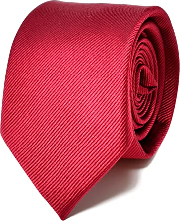 Oxford Collection Corbata de hombre Rojo Burdeos - 100% Seda ...