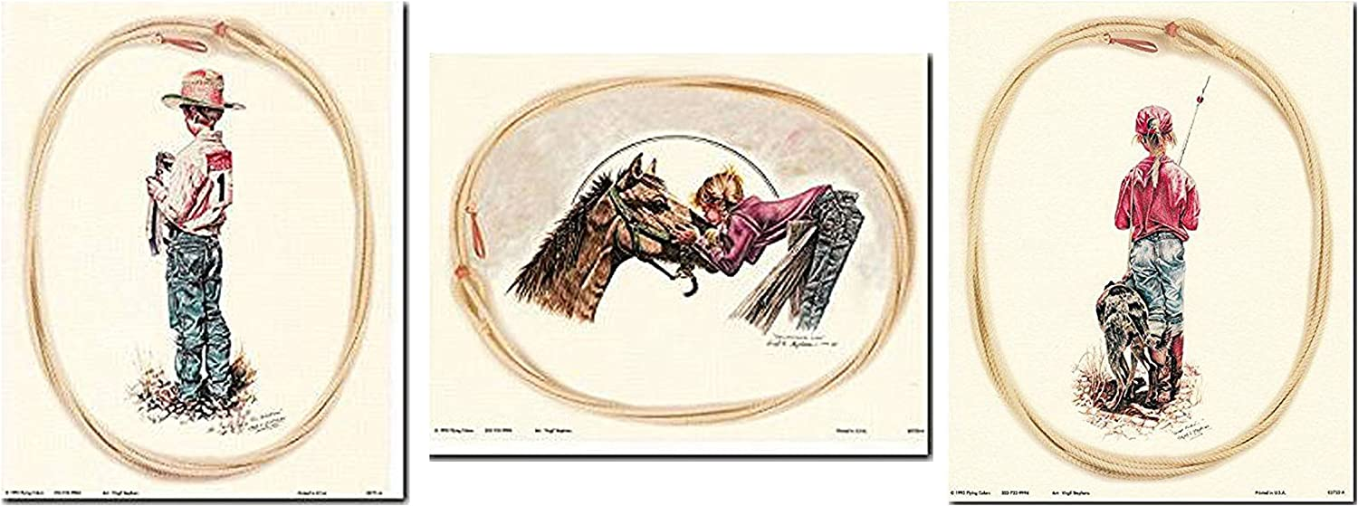 Wall Decor Art Print Poster - Western Cowboy And Cowgirl Rodeo 8x10 Three Set Picture