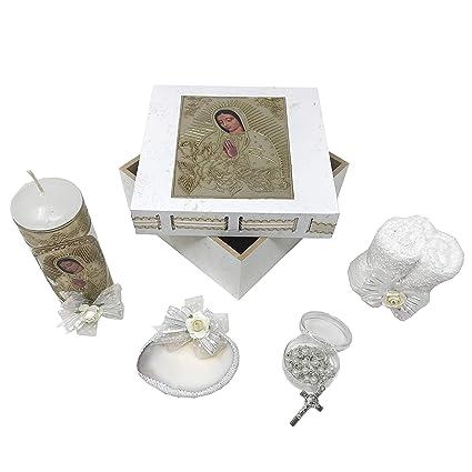 Velas Con Toallas Para Bautizo.Kit De Bautismo Catolico En Caja De Madera Con Toalla Vela