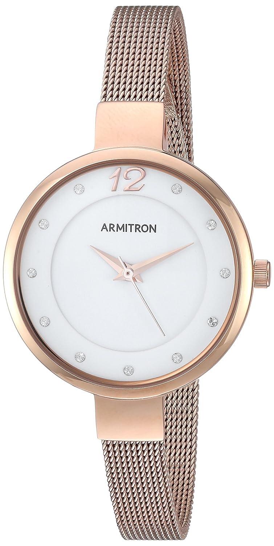 Armitron Women s 75 5465WTRG Swarovski Crystal Accented Rose Gold-Tone Mesh Bracelet Watch