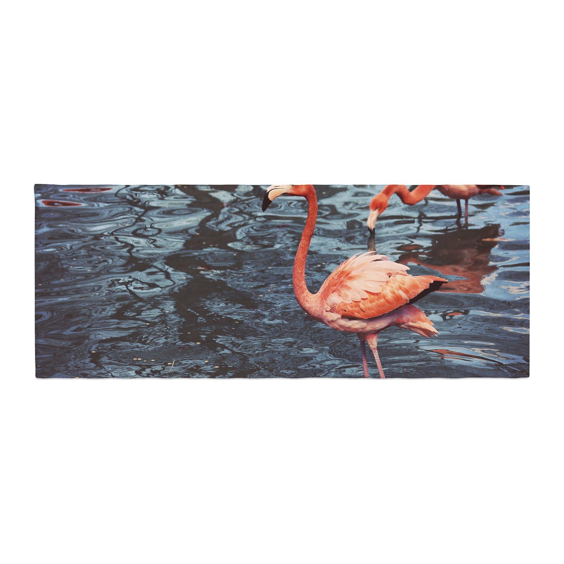 Kess InHouse Angie Turner Pink Flamingo Animals Blue Bed Runner, 34'' x 86''