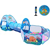 Newest Ocean Theme 3Pcs Kids Play Tent with Tunnel Ball Pits Indoor and Outdoor Children Playhouse for Toddlers, Babies Include Inflatable Toy Ball (Ocean Balls Not Included )