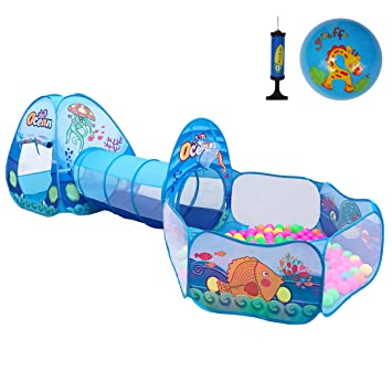 Newest Ocean Theme 3Pcs Kids Play Tent with Tunnel Ball Pits Indoor and Outdoor Children Playhouse  sc 1 st  Amazon.com & Amazon.com: Newest Ocean Theme 3Pcs Kids Play Tent with Tunnel ...