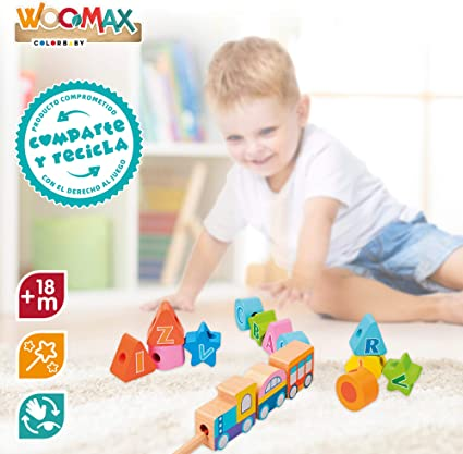 Juego de arrastre en madera Tren 35 piezas WOOMAX 46440