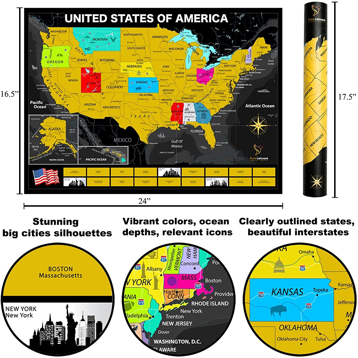 Pure Leissure Scratch Off Map of The United States for Travel Tracking, Deluxe Gift for USA Travelers, Bonus Caribbean Map + Accessories + eBook