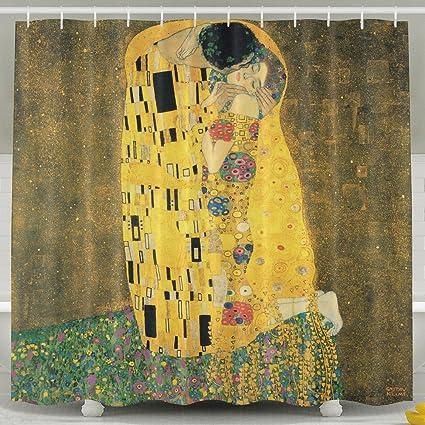 LitLife Shower Curtain For Bathroom Gustav Klimt The Kiss Water Repellent Fabric Bath 72 X