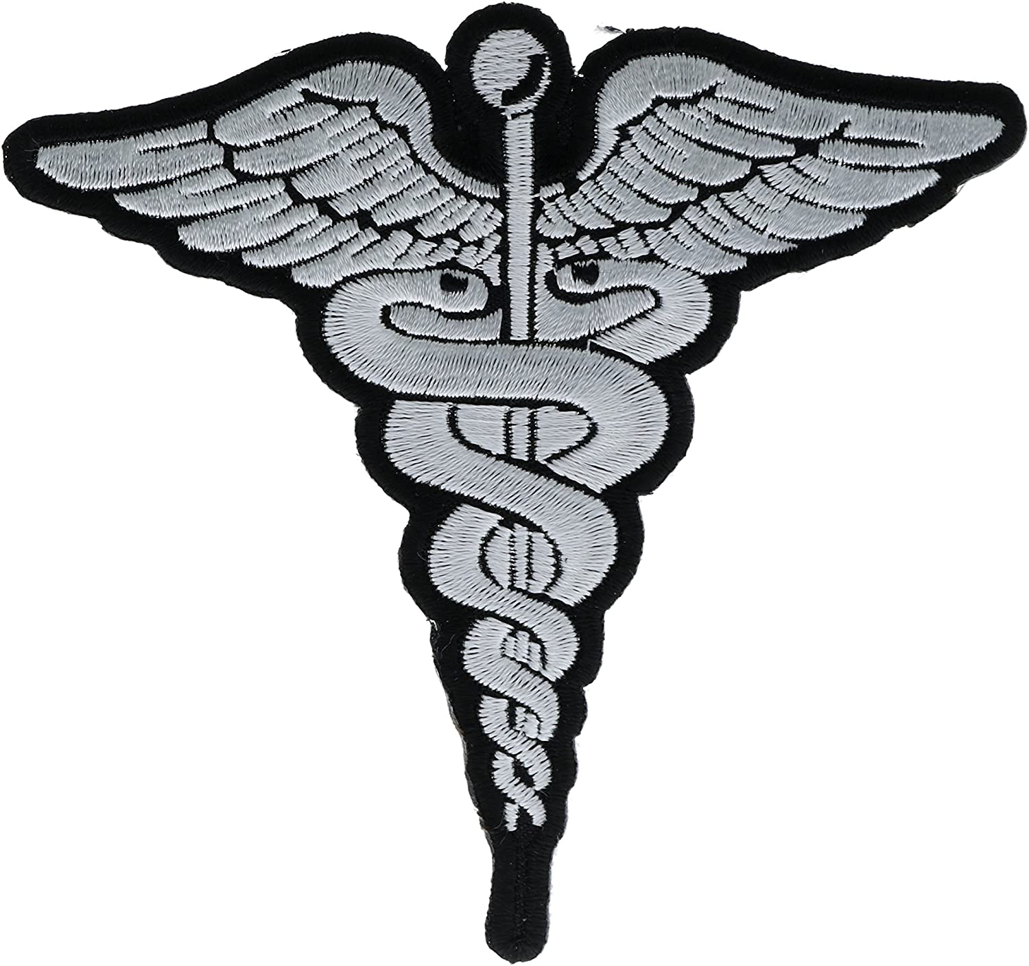 Blue on White Medical Caduceus Embroidered 4 Patch IVANP5466a