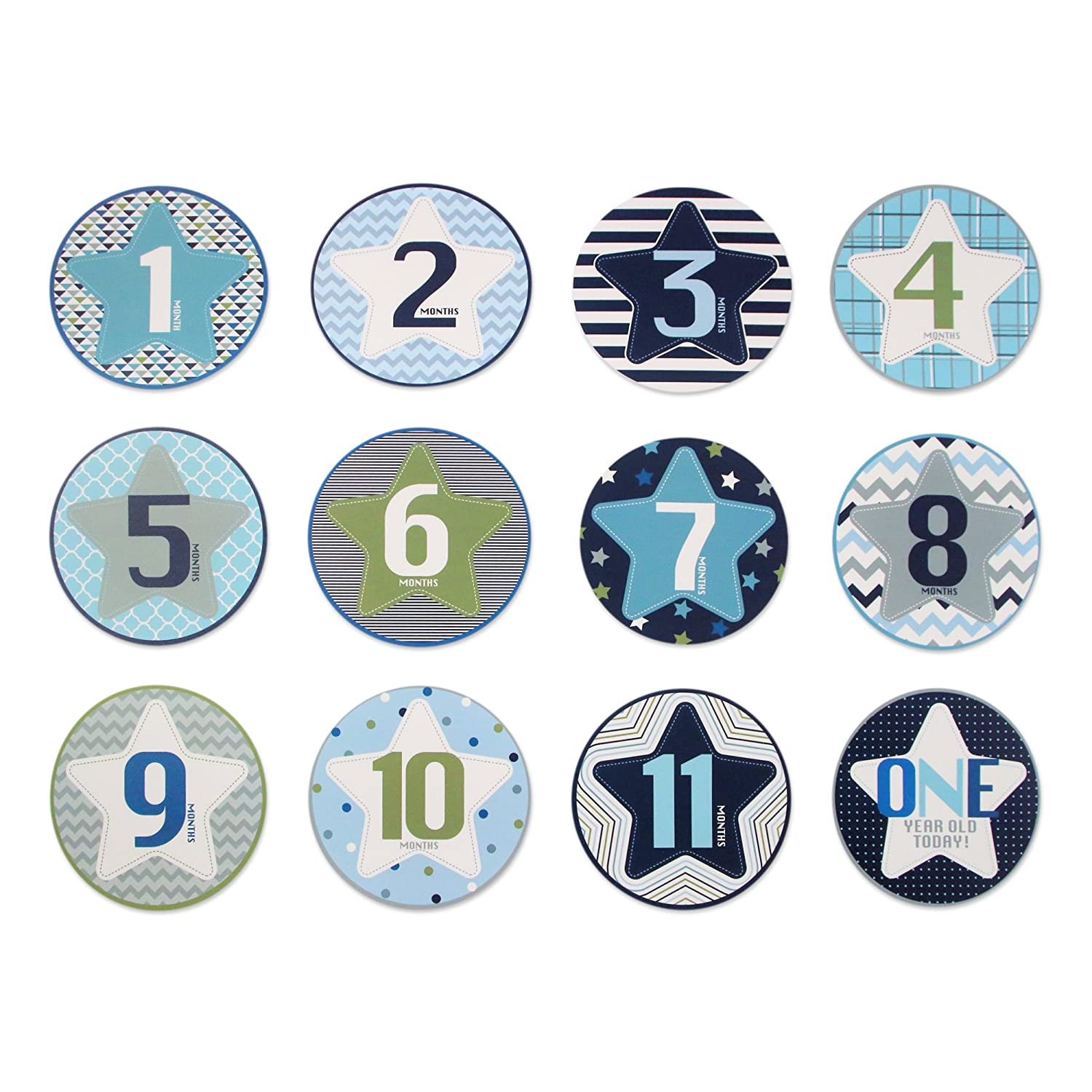 Rising Star Baby Boys Milestone Belly Stickers Box Set Dress Tie Design Size GNA71832