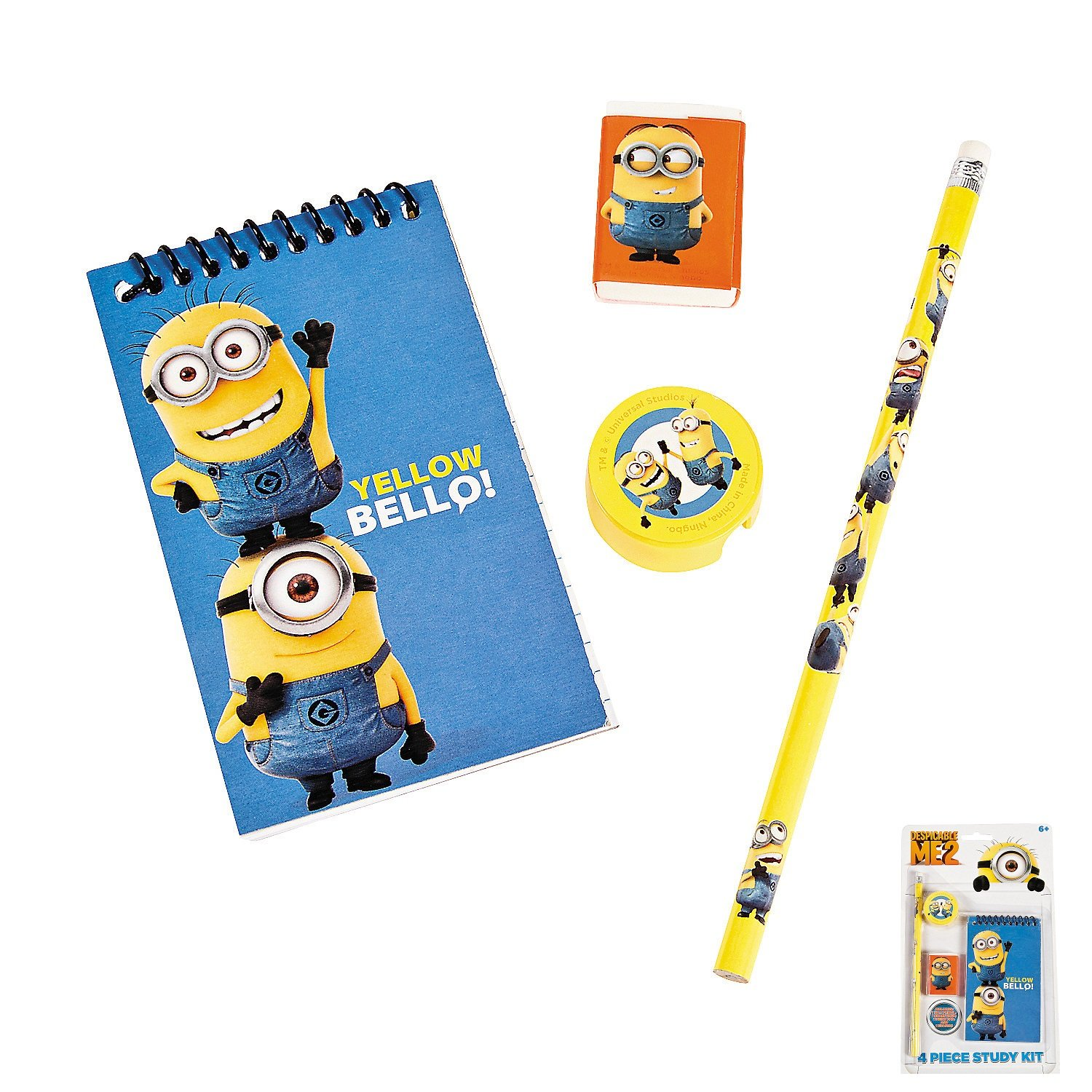 1 x Tin With 12 MINIONS Colouring Pencils /& Sharpener Lid Party Bag Fillers