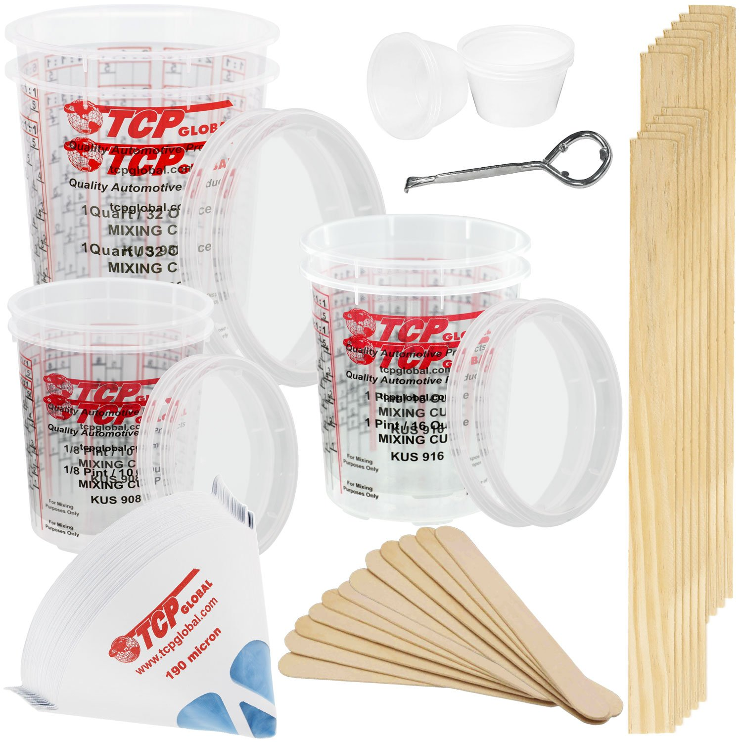TCP GLOBAL Premium Paint Mixing Essentials Kit. Comes with 12 Mixing Cups, 6 Lids, 12 Wooden 12'' Mixing Sticks, 12 Wooden Mini Mixing Paddles, 12 HQ 190 Mesh Paint Strainers & Paint Can Opener.