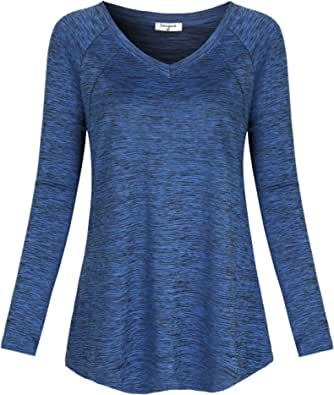 Soogus Women's Yoga Tops Long Sleeve Activewear Dry Fit Running Workout Shirts