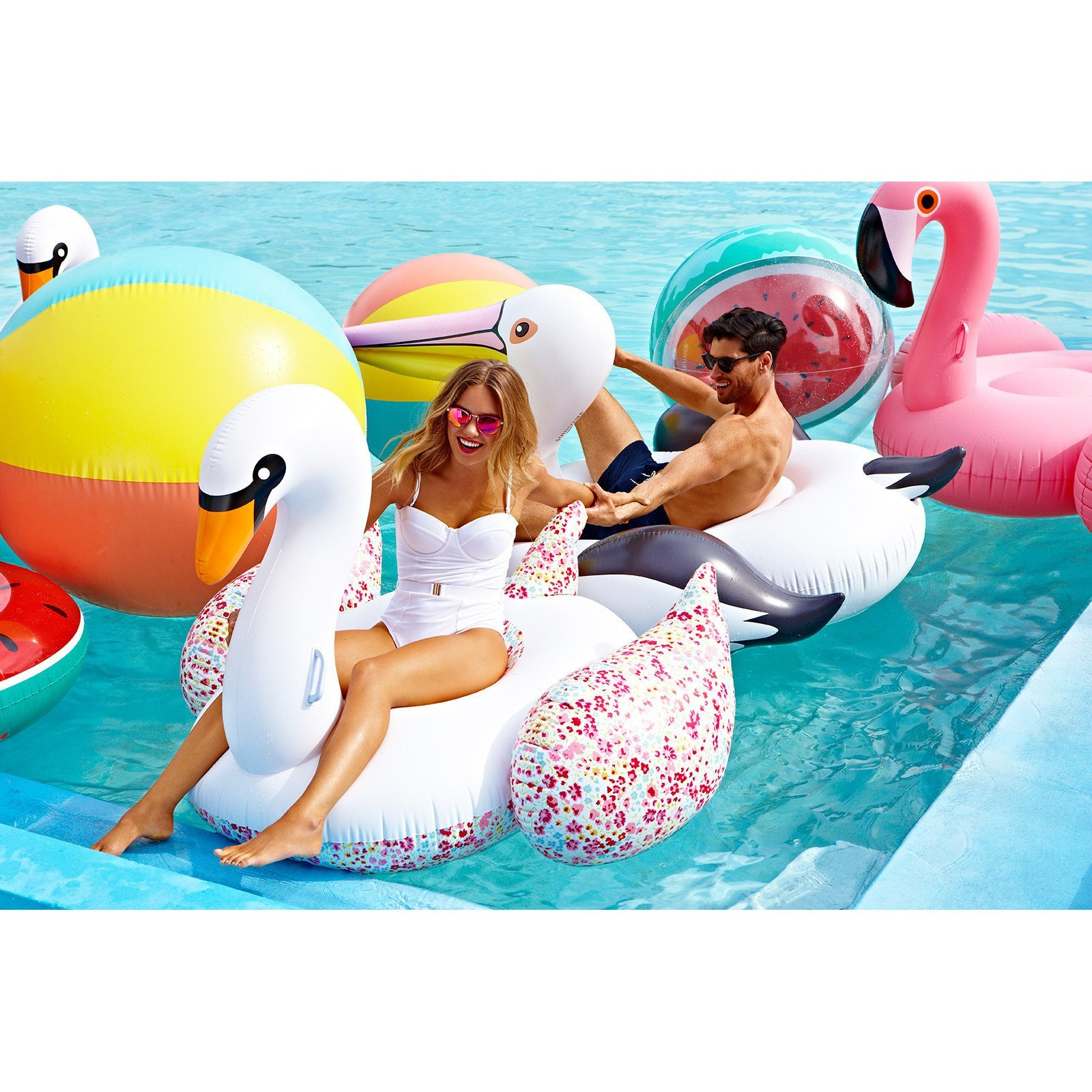 Sunnylife Luxury Adult Inflatable Pool Float Ride On Beach Toy - Pink Flamingo by SunnyLIFE (Image #5)