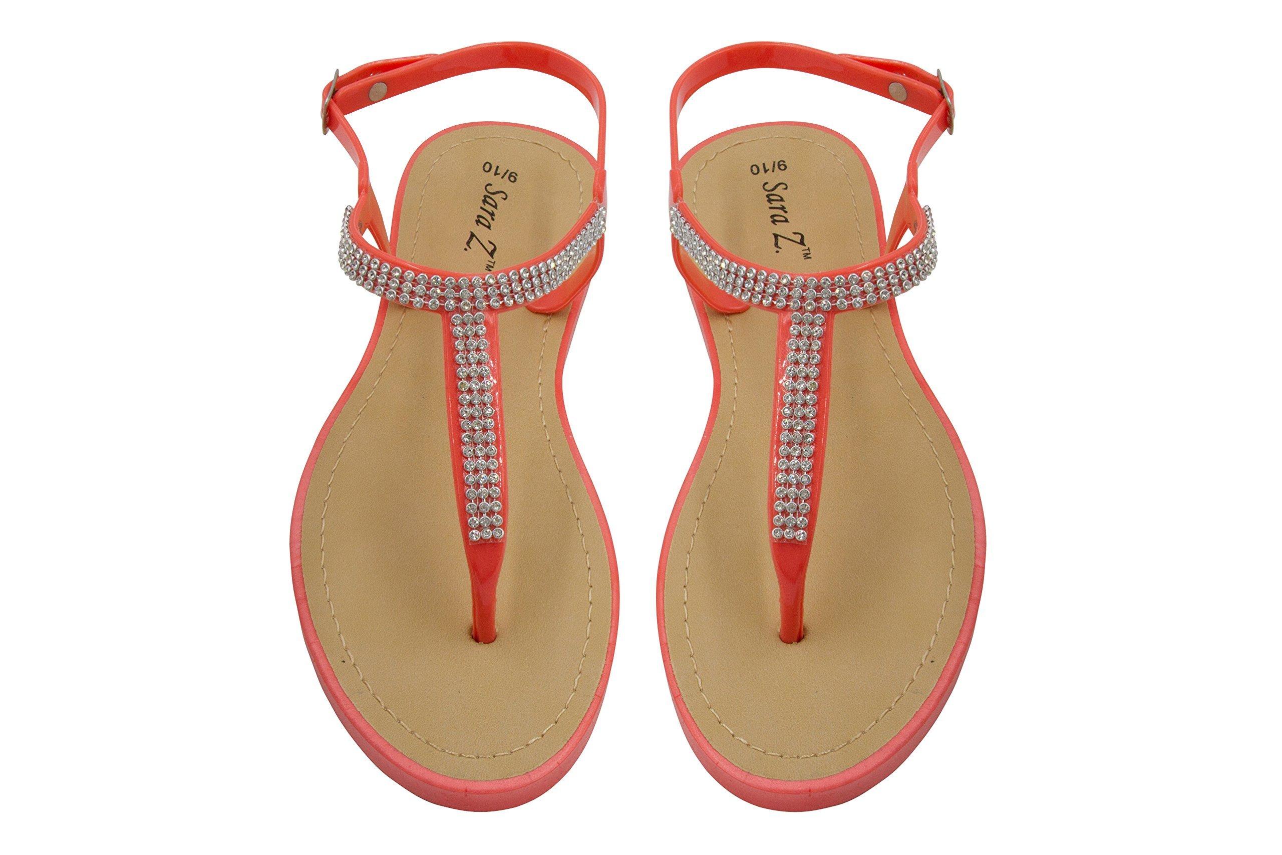 Sara Z Ladies T-Strap PCU Sandal 5/6 Coral