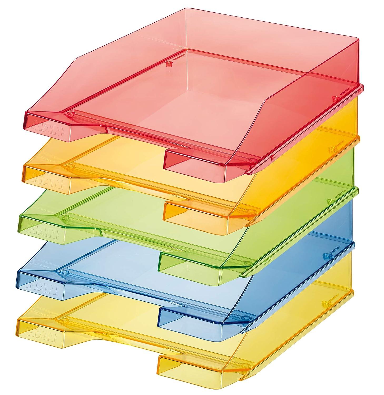 6 unidades transparente DIN A4//C4 color transparente-verde robusta HAN KLASSIK Bandeja para correo apilable