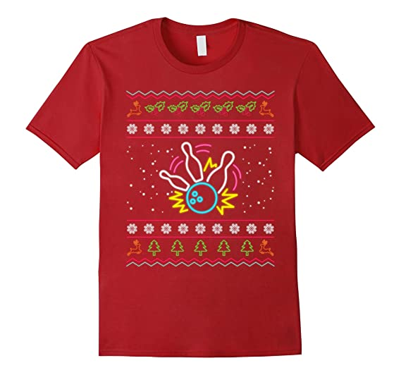 Amazoncom Ugly Christmas Sweater 80s Neon Sign Strike Bowling T