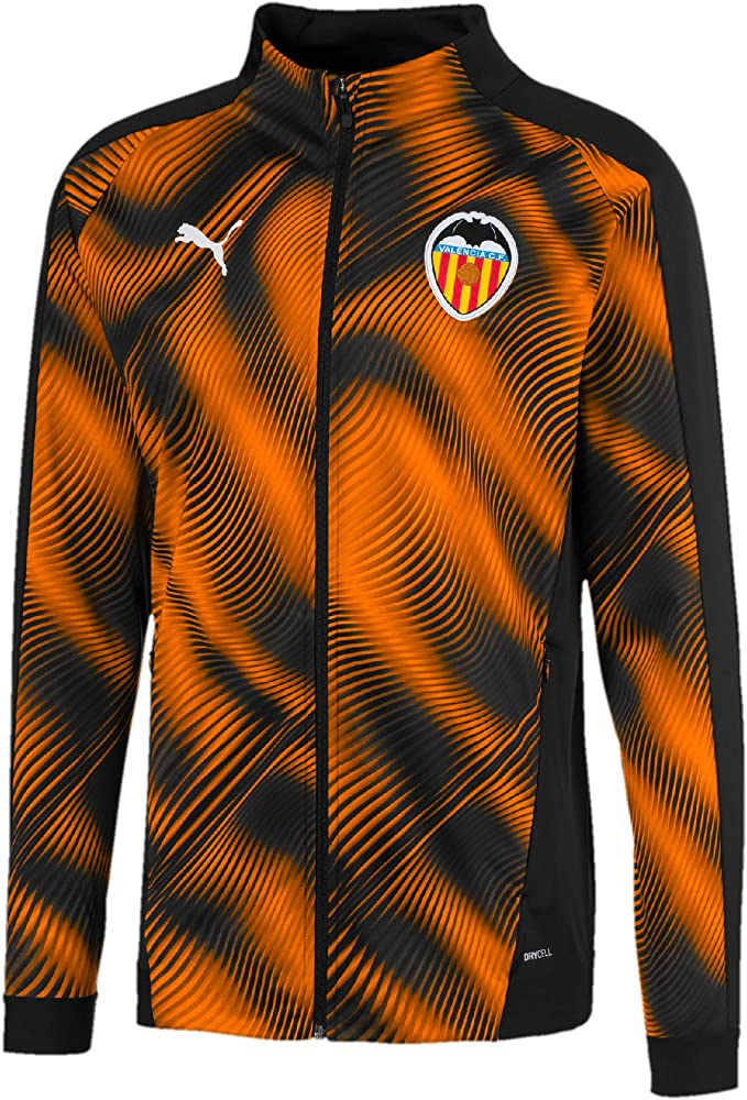 Puma Valencia CF Stadium Jacket Chaqueta De Entrenamiento, Hombre, Negro Black-Vibrant Orange, S: Amazon.es: Ropa y accesorios