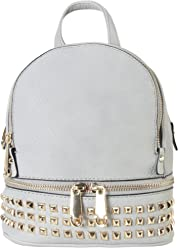 PU Leather Golden Studded   Zipper Décor Mini Chic Backpack ... 1678029a092b8