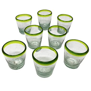 Set of 8 Handblown Tequila Shot Glasses/Mezcal Green Rim Glasses, Vaso Veladora para Mezcal con Orilla Verde. Traditional Glass for Mexican Drinks with a Wide Mouth in Order to get The Aroma.