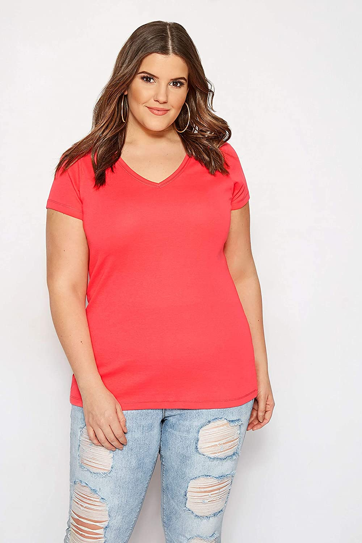 Yours Clothing Womens Short Sleeve Tshirt Top V Neck Basic Plain Plus Size