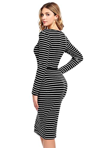 01fe6732e3 ELESOL Women s Black and White Striped Tight Dress Ladies Aline Bodycon  Dress Black White S at Amazon Women s Clothing store