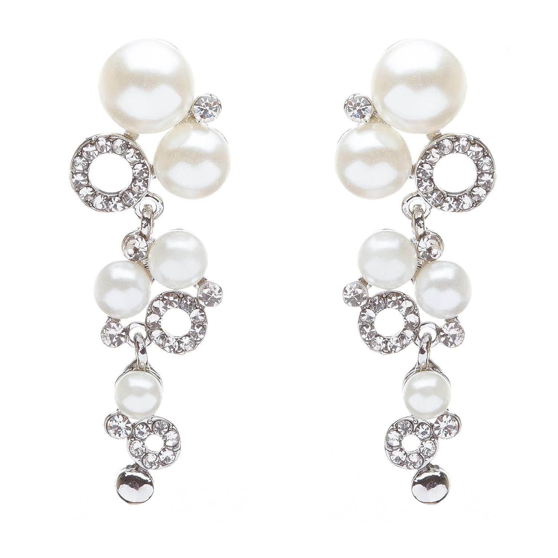 Bridal Wedding Jewelry Crystal Rhinestone Classy Pearl Links Dangle Earrings