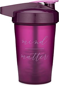 Motivational Quotes on Performa Activ Shaker Bottle, 20 Ounce Classic Protein Shaker Bottle with Loop, Leak Proof, Perfect Gym Fitness Gift (Mind Over Matter - Plum)