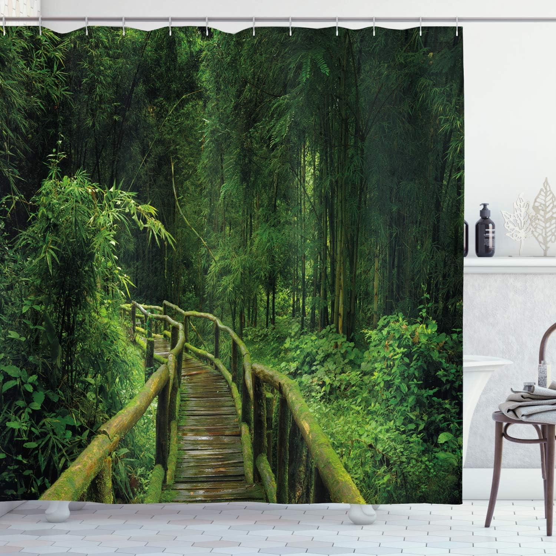 ABAKUHAUS Bosque Cortina de Ba/ño Material Resistente al Agua Durable Estampa Digital Turquesa Verde Marr/ón Asia Tailandia Jungle /árboles 175 x 180 cm