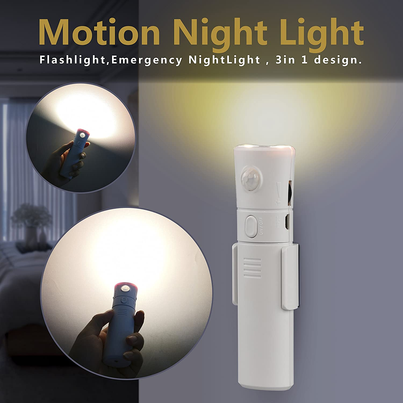 amagle充電式Motion Activated懐中電灯、2つのモード調節可能な明るさ、ポータブル緊急ナイトライトベッドルーム、バスルーム、ベビールーム YG_MSF001 B07CV84TZJ 10642  Warm White,3000k