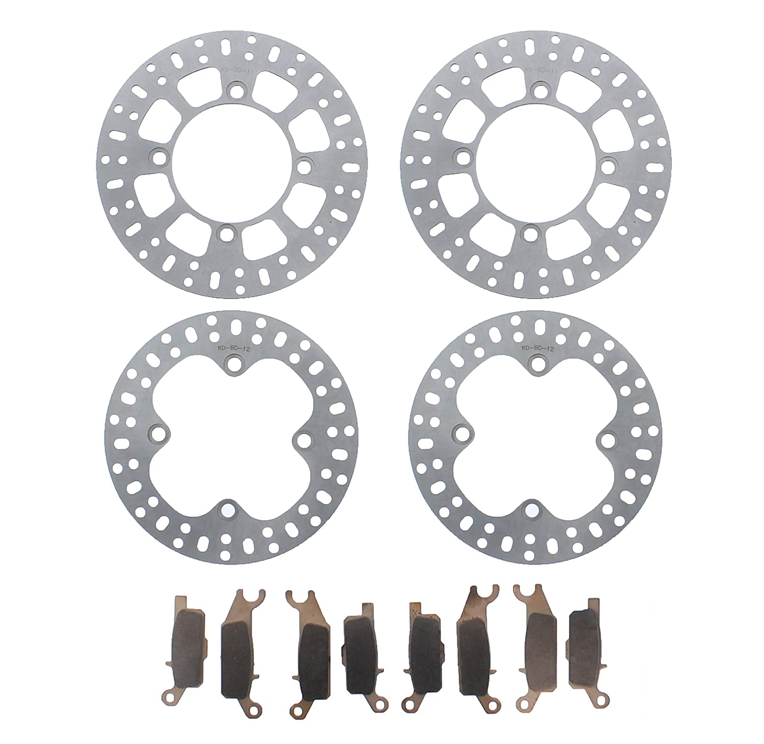 Race Driven Yamaha Front and Rear Brake Rotors and Severe Duty Brake Pads for Grizzly YFM550 YFM700 YFM 550 700 Race-Driven