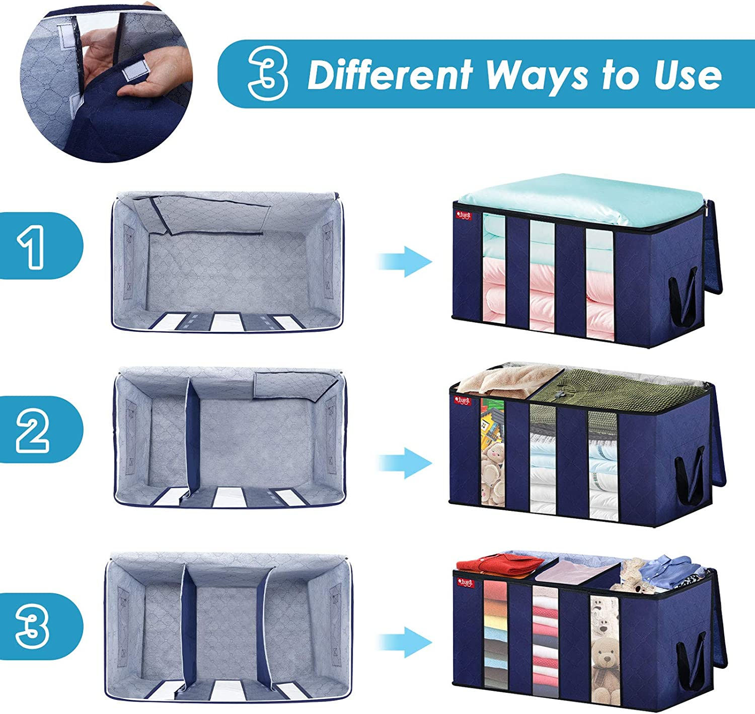 Pack of 4 Large Capacity Comforter Storage Bags Reinforced Handle Stainless Steel Zippers for Blankets,Bedding,Clothes JOYXEON Clothes Storage Bag Closet Organizer with 3 Adjustable Sections