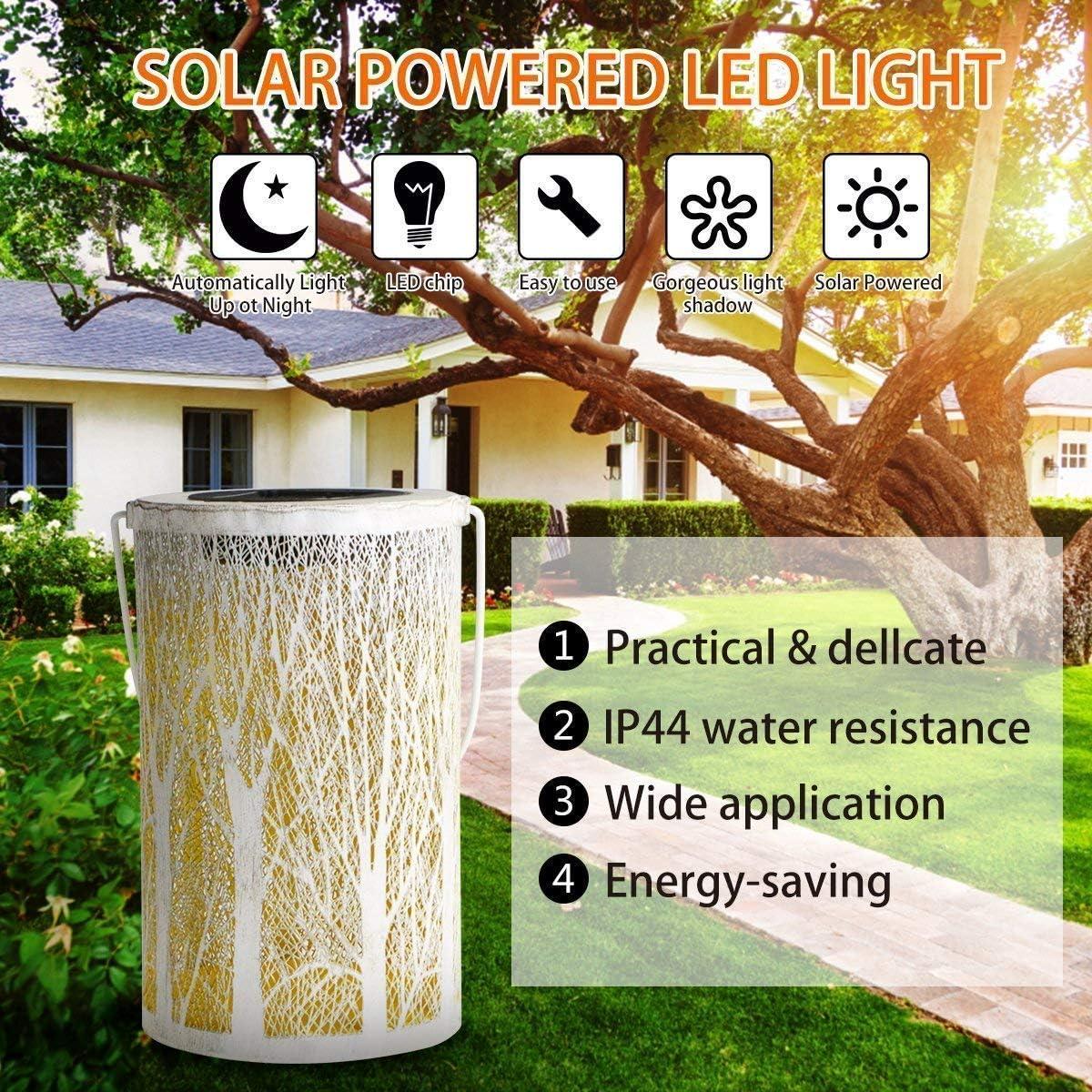 Baum Solar Laterne Gartenlicht,SUAVER Retro Solar Tischlampe Outdoor Solarleuchten Garten Dekorative solarlampen Metall Kunst H/ängend Lampe f/ür Baum Patio Terrasse Garten Party Leuchte