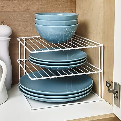 3 ripiani porta piatti o piano di lavoro per cucina, colore: bianco