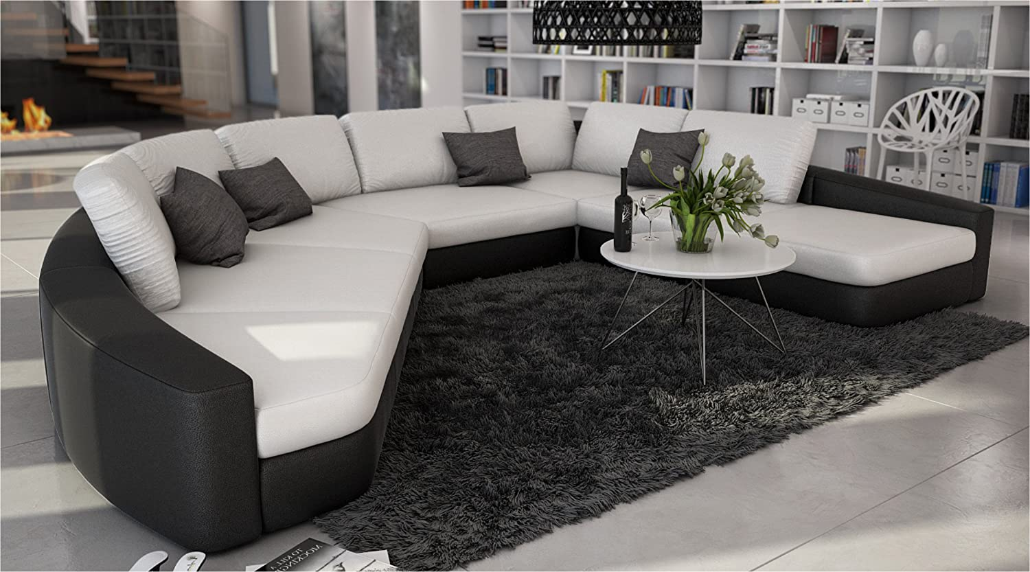 Sofa modern günstig  SAM® Sofa Garnitur in weiß - schwarz DOMENCIA designed by Ricardo ...