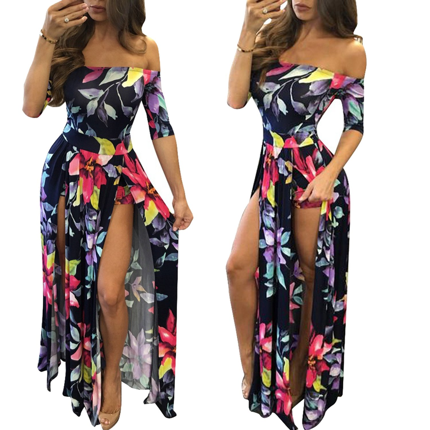 010bab4a61e1 Amazon.com  Romper Split Maxi Dress High Elasticity Floral Print Short  Jumpsuit Overlay Skirt for Summmer Party Beach S-5X  Clothing