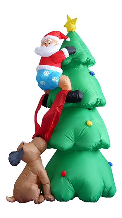 6 foot inflatable santa claus climbing on christmas tree chased by dog
