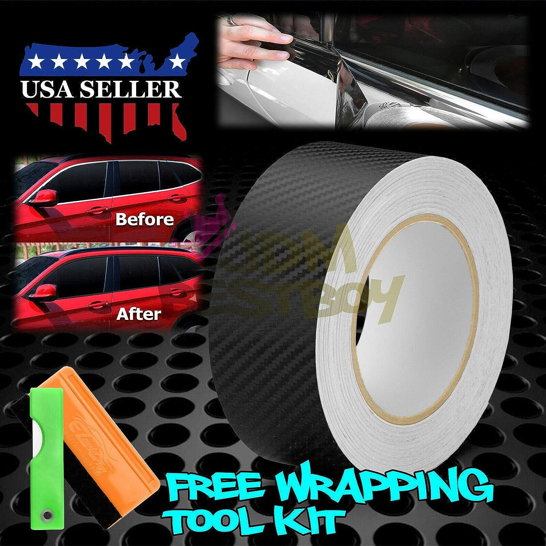 JDMBESTBOY Free Tool Kit Gloss Black Vinyl Wrap Kit for Black Out Chrome Delete Window Trim Door Trim 2 x50Ft