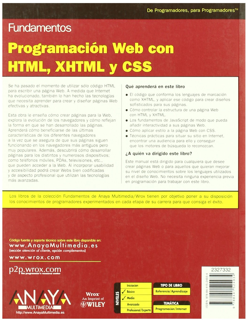 Programación Web con HTML, XHTML y CSS Anaya Multimedia/Wrox: Amazon.es: Jon Duckett: Libros