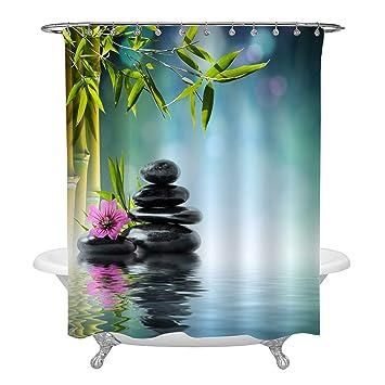 Golden Buddha Spa Zen Shower Curtain Liner Bathroom Set Waterproof Fabric Hooks