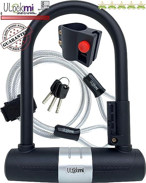 Candado de Bicicleta U con Cable, candado para Bici de 16 mm ...