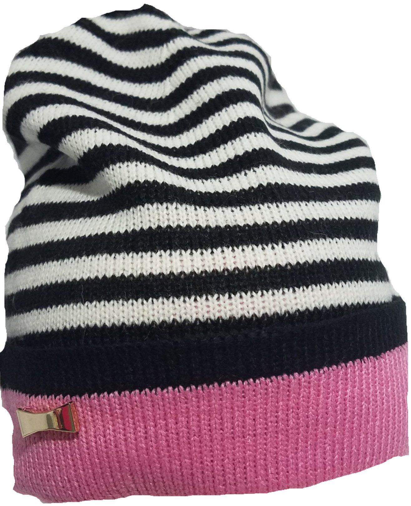 Kate Spade Reversible Stripe Beanie Pink/Black by Kate Spade New York